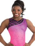 gk elite 3787 blushing sunset gymnastics tank leotard
